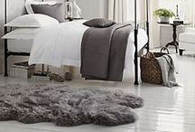 Sheepskin Rugs in Interior Decor / Warm, soft and woolly sheepskin rugs by Gorgeous Creatures. Natural Ivory or Natural Black sheepskins. Dyed black, chocolate, taupe or red sheepskins. www.gorgeouscreatures.co.nz