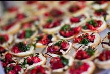 Two Fat Men Appetizers / Just a few examples of the yummy apps we offer for your special event! These can be passed or set up as a mini buffet station.  www.twofatmencatering.com