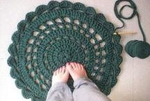 Crochet rug, pillow and blanket