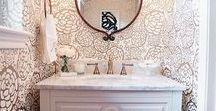 POWDER ROOM PERFECTION / One of the smallest rooms in the house where you can show off your design flair.  Say hello to the powder room. Creative solutions for your powder room can be found here. Ideas for how to decorate, maximize space and wow your guests.