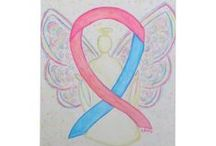 Pink and Blue Awareness Ribbon Support and Art Gifts / A pink and blue awareness ribbon supports awareness for infertility, birth defects, sudden infant death syndrome (SIDS), stillbirth, infant loss, miscarriage, premature birth, baby safe haven, twin to twin transfusion syndrome (TTTS), amniotic fluid embolism, clubfoot, and male breast cancer.  Let this blue and pink awareness ribbon help support these causes!