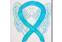 Turquoise Blue Awareness Ribbon Support and Art Gifts / The turquoise awareness ribbon color means support for Addiction Recovery, Native American Reparations, Congenital Diaphragmatic Hernia (CDH), Interstitial Cystitis (IC), and Dysautonomia.  Let this turquoise ribbon help bring awareness to these causes!