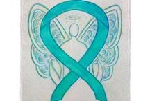 Teal Green Awareness Ribbon Support and Art Gifts / The teal green ribbon color means support for Agoraphobia, Anxiety Disorder, Dissociative Identity Disorder, Food Allergies, Fragile X Syndrome, Myasthenia Gravis, Obsessive-Compulsive Disorder, Ovarian Cancer, Cervical Cancer, Panic or Stress Disorders (PTSD), Polycystic Ovarian Syndrome, Polycystic Kidney Disease, Sexual Abuse, Sexual Assault, Substance Abuse, Batten Disease and Tourette's Syndrome (TS).  Let this teal ribbon help bring awareness to these causes!