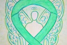Jade Green Awareness Ribbon Support and Art Gifts / The jade awareness ribbon color means support for hepatitis B (HBV), and liver cancer awareness. Let these Jade Green Awareness Ribbons help bring support to these causes!