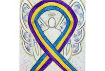Bladder Cancer Awareness Ribbon Support and Art Gifts / The color for bladder cancer is yellow or marigold, blue, and purple.  Yellow was the initial awareness ribbon color.  The new multi-colored ribbon was established by the American Bladder Cancer Society.