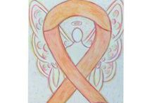 Peach Awareness Ribbon Uterine Cancer & Endometrial Cancer Support and Art Gifts / The peach ribbon color means support for uterine and endometrial cancers.  Let this peach ribbon help bring cancer awareness!