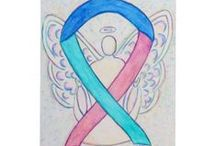 Thyroid Cancer Awareness Ribbon Support and Art Gifts / Thyroid Cancer uses a pink, teal and blue ribbon for its cause awareness.  The images often also use a butterfly since the thyroid gland is has a butterfly outlined shape to it.