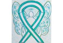 Cervical Cancer Awareness Ribbon Support and Art Gifts / The teal and white ribbon means support for cervical cancer. A solid teal ribbon also used sometimes too.  Let this ribbon support awareness for the cause of cervical cancer.