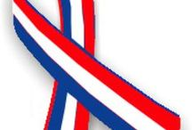 Red, White, Blue Awareness Ribbon Support and Art Gifts / Red, white, and blue ribbon is used to show awareness for USA/ American pride.