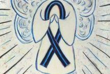 Blue and Black Awareness Ribbon / The blue and black awareness ribbon is for Concern of Police Survivors (COPS) - Support Law Enforcement, anti-bullying and ocular melanoma (choroidal melanoma/ uveal melanoma) awareness. Bullying awareness also uses a blue ribbon.