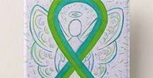 Teal and Lime Green Awareness Ribbon Meaning and Gifts / Pulmonary fibrosis uses a teal blue and lime green ribbon for its cause awareness. It also uses the color red and blue as well.  Let this lime and teal awareness ribbon help support pulmonary fibrosis awareness!