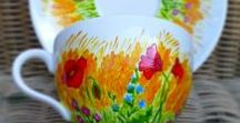 My hand painted cups and a saucers / * hand painted mugs * high quality of porcelain (Czech Republic) * original porcelain paintings