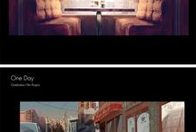 Concept art / Concept art for animation films and video games, compotion, color script, layout and background sketches