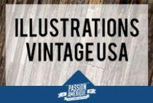 Illustrations Vintage Retro USA / Ce tableau regroupe ma sélection d'illustrations vintage et retro sur le thème des USA ! Affiches de voyage vintage, posters de compagnies aériennes sur des destinations américaines, etc.