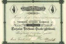 Vanhat osakekirjat / Eri yritysten vanhoja osakekirjoja, old stock certificates