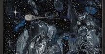 The Intergalactic Series / Space themed abstract paintings by Heather Miller of WhiteRose's Art