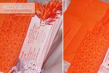 Leonardo & Chiara / Partecipazioni per il matrimonio di Leonrado e Chiara in arancione | avorio | rosso