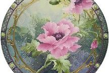 Porcelain painting (Posliininmaalaus) / erilaisia posliininmaalausmalleja ja ideoita