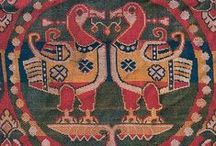 Sogdian textile fragments & designs / A collection of Sogdian textiles, both fragments and garments. Specifically looking for patterns with pearl roundels, and the distinctive sort of striped look that comes from the pattern being created with 3 weft threads.