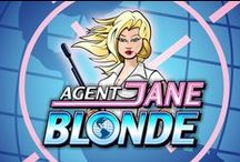 Agent Jane Blonde video slot / The name's Blonde, Agent Jane Blonde. With looks to kill and weapons in tow, this 9 line video slot is license to thrill.