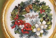 keresztszemes minták: karácsony, tél