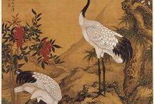 журавли / Traditional chinese painting: cranes and fishes on the gold background