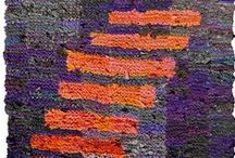 Purple / A study board for using the color purple in purple rugs, looking for the accent and contrasting colors that make rag rugs more interesting.