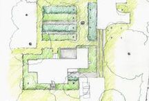 Home Outside Project: Western Mass / A graphic designer and avid gardener was looking for landscape ideas to reflect her love of clean, modern lines, to connect the inside to the outside and to provide  surprises as one moves throughout the garden. Home Outside's online expanded service developed six concepts for her to imagine: Classic Formal, French Parterre, Patterns, Crisp Angles, Playful Circles, and Minimalist Bands.