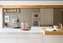 Kitchen Architecture bulthaup case study :Thatched cottage / Kitchen Architecture - bulthaup b3 furniture in kaolin and clay laminate with olive bar and shelves.