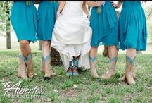 Turquoise and Coral Rustic Wedding / A rustic daytime outdoor ceremony at Hollow Hill Farms in Weatherford TX with turquoise and coral, cowboy boots, jeans, vests and jackets.