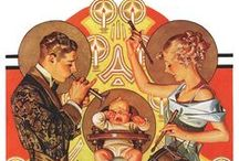 "J.C. Leyendecker / American artist/illustrator Joseph Christian Leyendecker (March 23, 1874 – July 25, 1951) had a most distinctive style characterized by angular lines and visible brush strokes. Leyendecker produced many poster, book and advertising illustrations during the Golden Age of American Illustration. For ""The Saturday Evening Post"" alone, Leyendecker produced 322 covers."