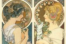 Art Nouveau / ~ From the 1880s until the First World War ~ Paintings in the Art Nouveau style, focusing primarily on artists Alphonse Mucha and Elisabeth Sonrel. With perhaps a splash of style-appropriate jewellery, furniture and such.