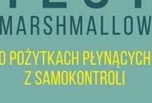 """Test Marshmallow / Tablica o książce Waltera Mischela """"Test Marshmallow. O pożytkach płynących z samokontroli"""", 2015, Smak Słowa"""