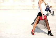 Beautiful woman's legs and heels / Man is fascinated by the beautiful legs and heels of woman!