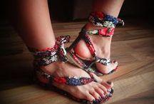 Sandalias Estampadas / Lindas sandalias hechas en tela de colores y estampados hermosos y 100% cuero