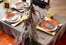 """Exotic Wedding Styled Photo Shoot Inspired by Huntsman Movie / Exotic Wedding styled shoot Inspired by """"The Huntsman: Winter's War"""" movie.Tonia of Aribella Events chose Gala Cloths' table linens to complement the theme's extravagant, dark elegance: Metallic Festival Black & Gold, Bengaline Red, Bengaline Black Napkins, and Chair Covers in Black Satin. Venue: The High Line Hotel // Photographer: Syed Yaqeen and Roadshow Wedding // Planner, Stylist, Florist: Aribella Events and Roadshow Wedding. Gala Cloths Designer & Linen Rental Consultant, Nancy Bauman."""