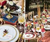 Snow White Inspired Styled Wedding Photoshoot in Merlot & Gold Color Palette / Snow White Inspired Styled Wedding Shoot in a Color Palette of Merlot & Gold with Bengaline Claret Table Napkins by Gala Cloths ... not even the Macaroons were overlooked for just the right hue!