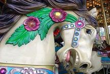 """Inspiration for  """"The Magical Carousal Horse"""" / Maddie Rose, who is 12,  discovers a carousal horse at her neighbor Daphne's house. It transports her back  to 1910 when Daphne was also 12. This is a chapter book work-in-progress."""