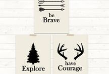Woodland Nursery Art / Woodland animal nursery art - deer, moose, bear, fox, alphabet and number posters, personalized custom name art