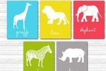 Jungle / Safari Nursery Art / Jungle themed nursery art - elephant, zebra, lion, giraffe, rhino, Alphabet and number posters, personalized name art. Safari nursery art