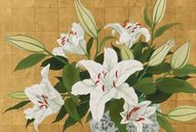 RIE YAMADA / Japanese artist - she uses vivid colours to compose paintings where flowers are the main subject. Her works are full of magnificence and elegance of traditional JAPANESE paintings, though realized with a modern technique
