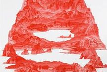 SEAHYUN LEE / Korean artist - with Between Red, a series of landscape paintings, the artist wants, besides his distinct political engagement, to recollect elements of both the North and South KOREAN mountains, and employ the deeply symbolic colour red in order to think about our endless attempt to recapitulate the past