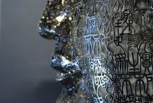 ZHENG LU / Chinese sculptor - Zheng Lu's sculptural work is infused with classical CHINESE calligraphy and poetry. The artist uses language as a sculptural element: each sculpture derives from or literally cites pieces of literature or counts a story, in a readable or unreadable way depending on the chosen script.