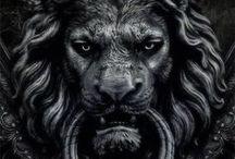 Lion oeuvre d'art / Esquisses , dessins et peintures pour sculptures et statues du roi LION
