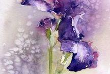 Aquarelles  fleurs /  Fleurs uniques ou en bouquets ... colorés mais tout en nuances , en douceur ...