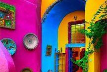 Maisons colorées / maisons du monde , gaies , joyeuses et pimpantes ...