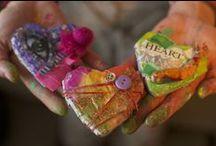 Heart crafts, crochet, cross stitch