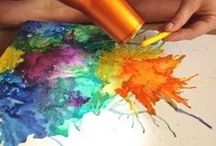 crayon art with blow dryer