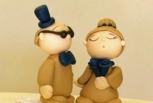 Toppers Cake Mini Dreams / wedding toppers cake hand made, novios de tarta en porcelana fria hechos a mano