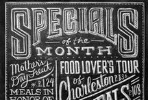 Chalkboard-Lettering / Lettering on chalkboards, mostly in restaurants
